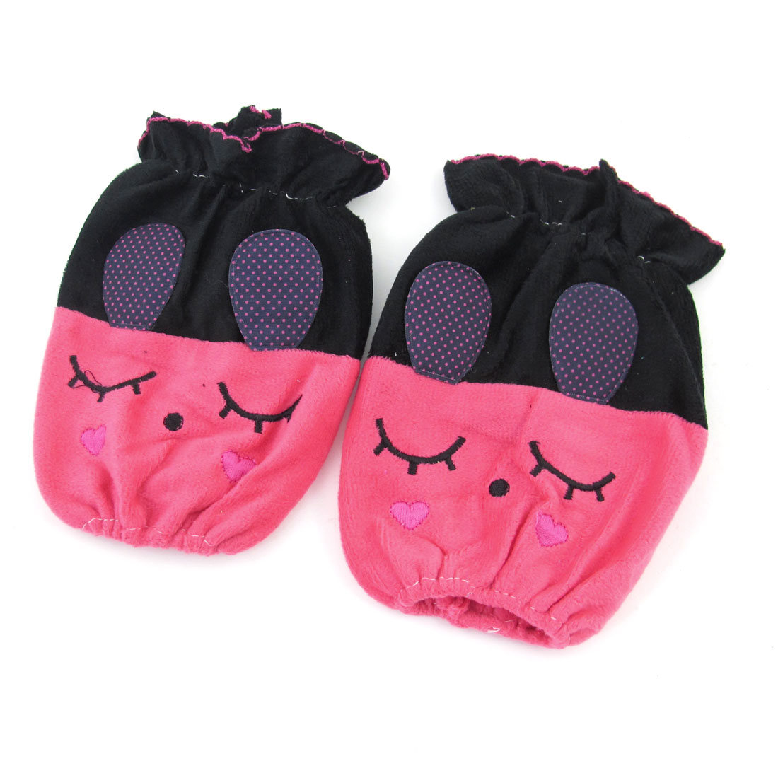 School Students Fuchsia Black Cute Rabbit Design Stretch Cuff Sleevelet Pair