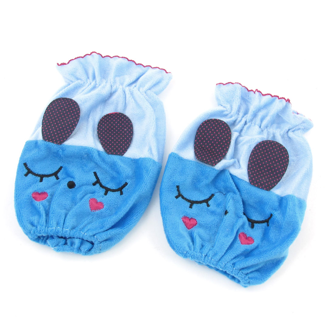 Pair Ladies Blue Velvet Cartoon Rabbit Pattern Oversleeve Sleevelet