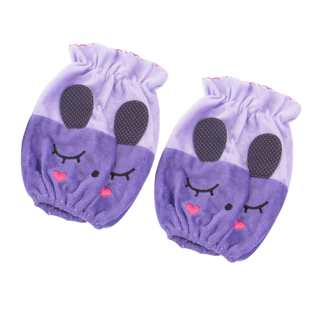 School Students Purple Cute Rabbit Design Stretch Cuff Sleevelet Pair