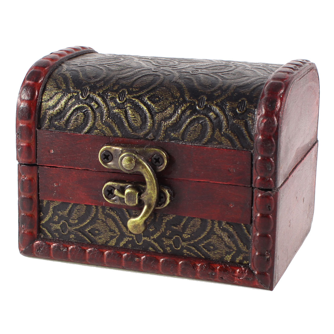 Women Burgundy Antique Design Embossed Floral Jewelry Necklace Wooden Case Box