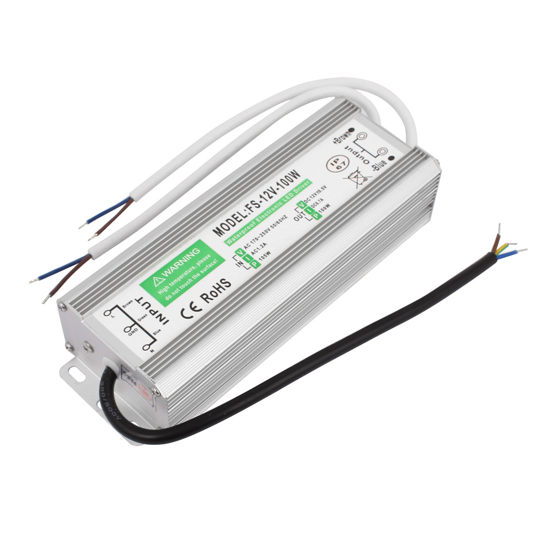 Waterproof Electronic LED Driver Transformer AC170-250V 1.2A to DC12V 6.7A