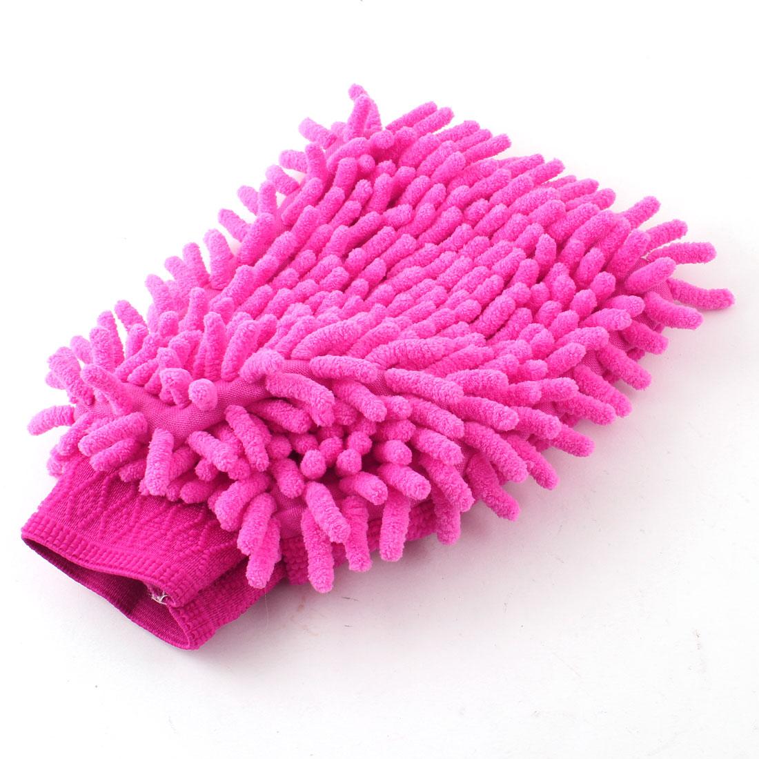 Car Washing Cleaning Single Side Microfiber Mitt Glove Fuchsia