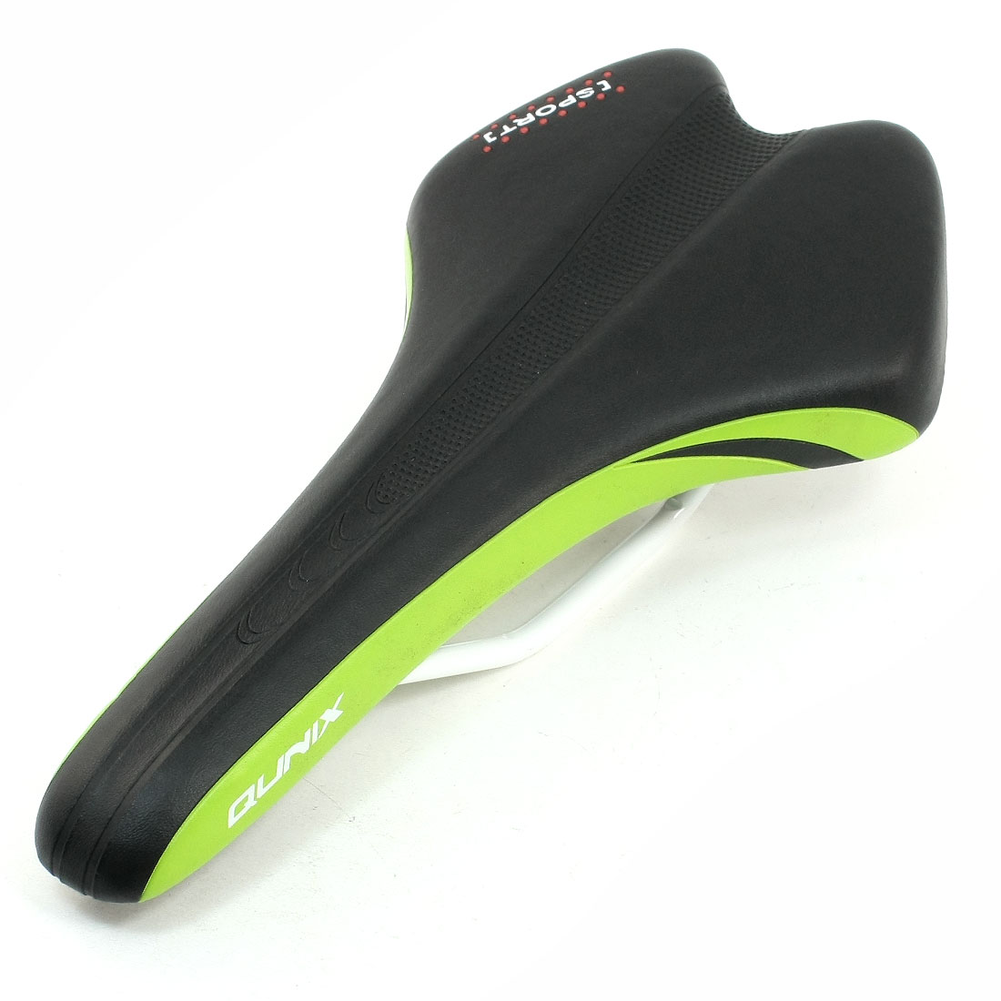 Green Brim Detail Black Faux Leather Coatd Mountain Racing Bike Saddle