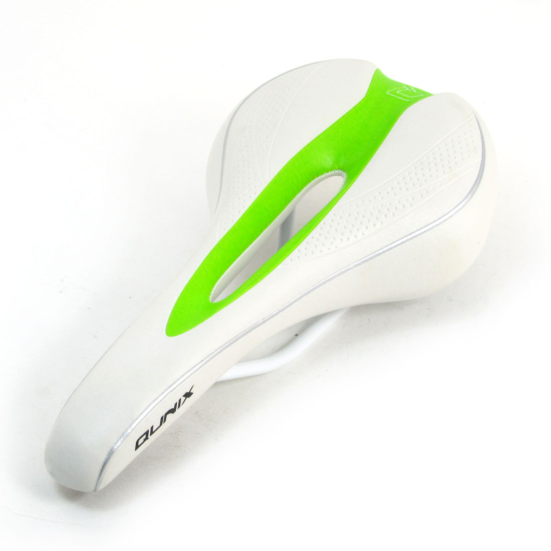 Green Hollow Out Parts White Faux Leather Coated Foam Bike Saddle Seat