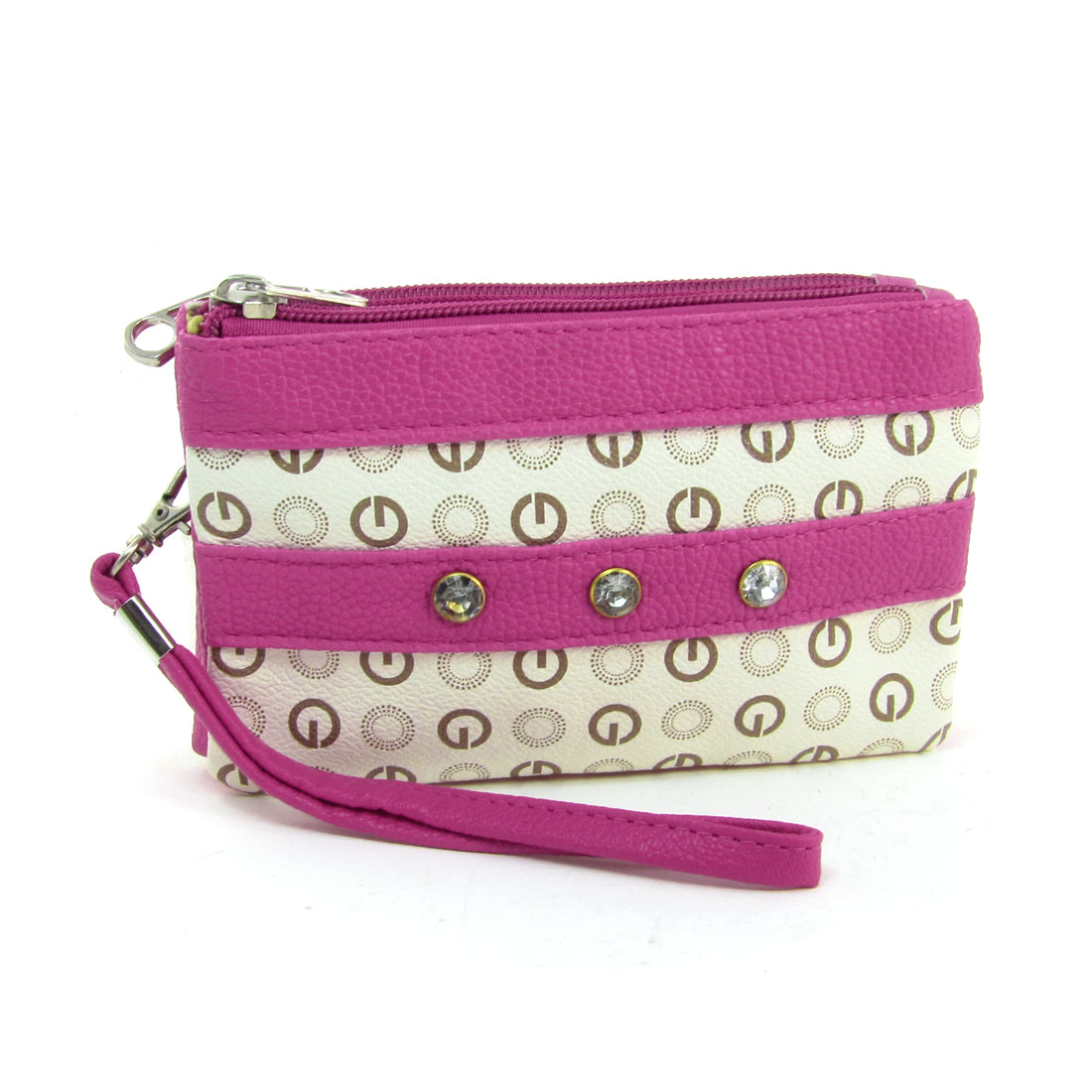 Lady Three Zipper Closure Faux Leather Circle Pattern Purse Pink Beige