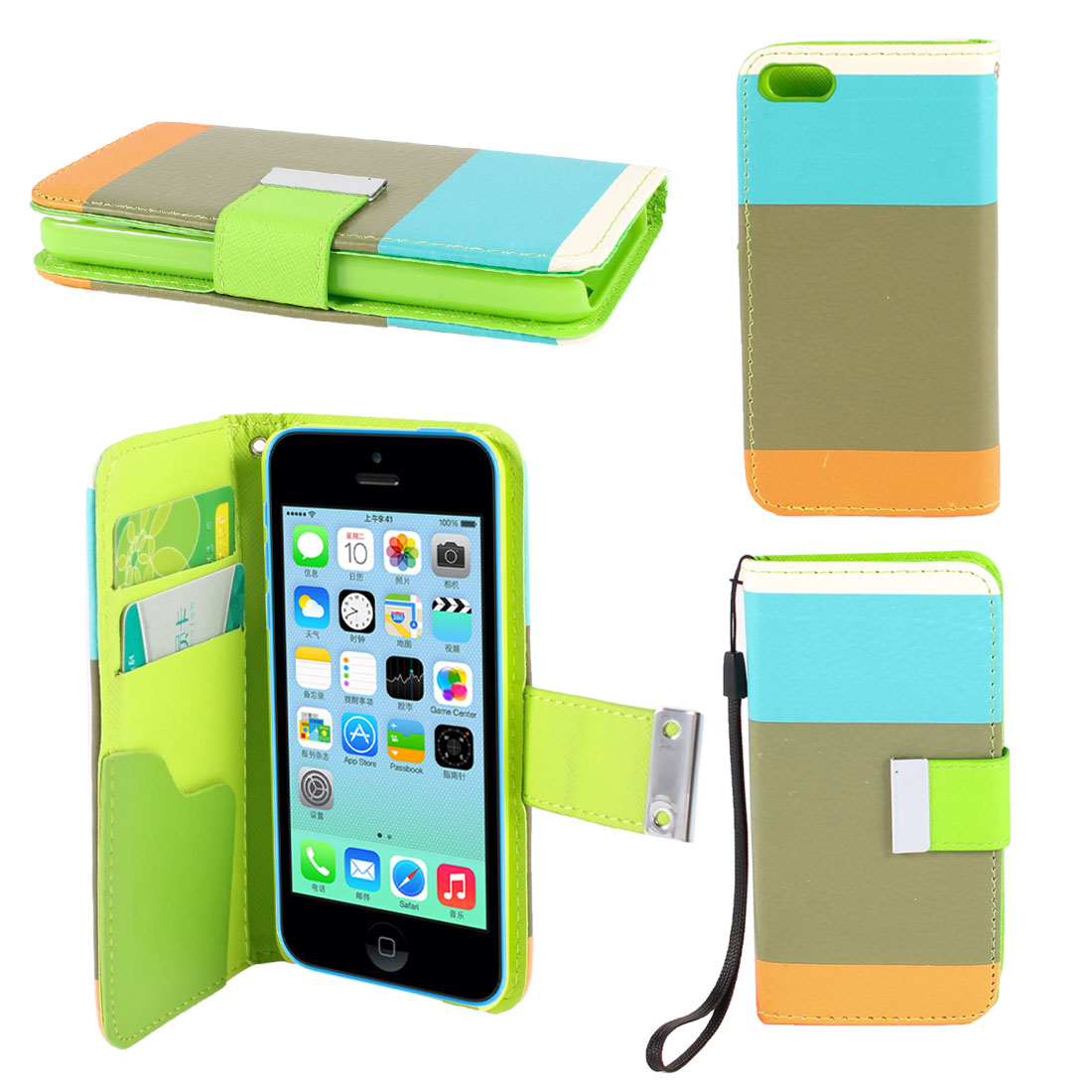 Olive Blue Stripe Faux Leather Magnetic Flip Stand Pouch Case for iPhone 5C