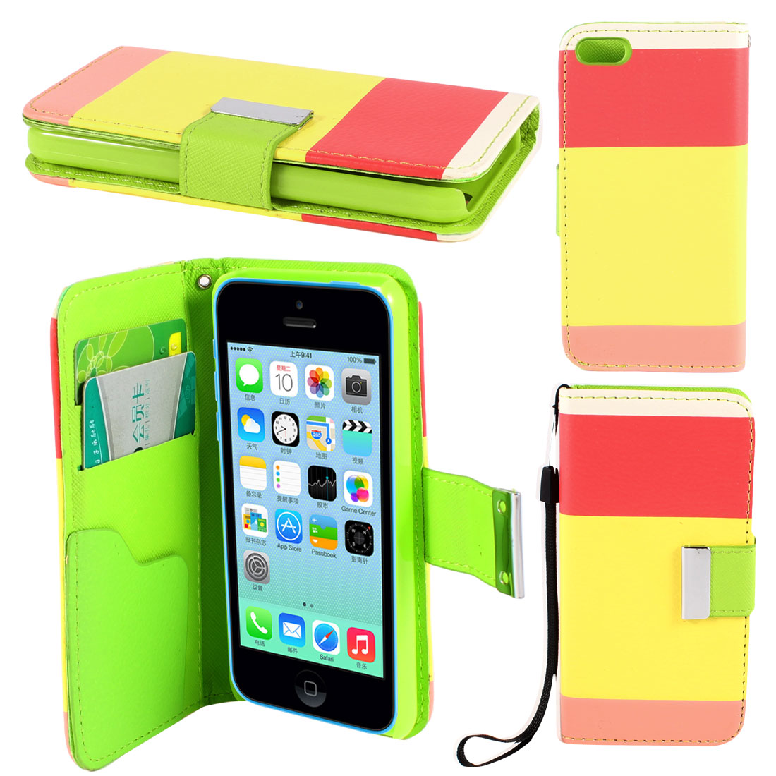 Yellow Red Stripe Faux Leather Magnetic Flip Stand Pouch Case for iPhone 5C