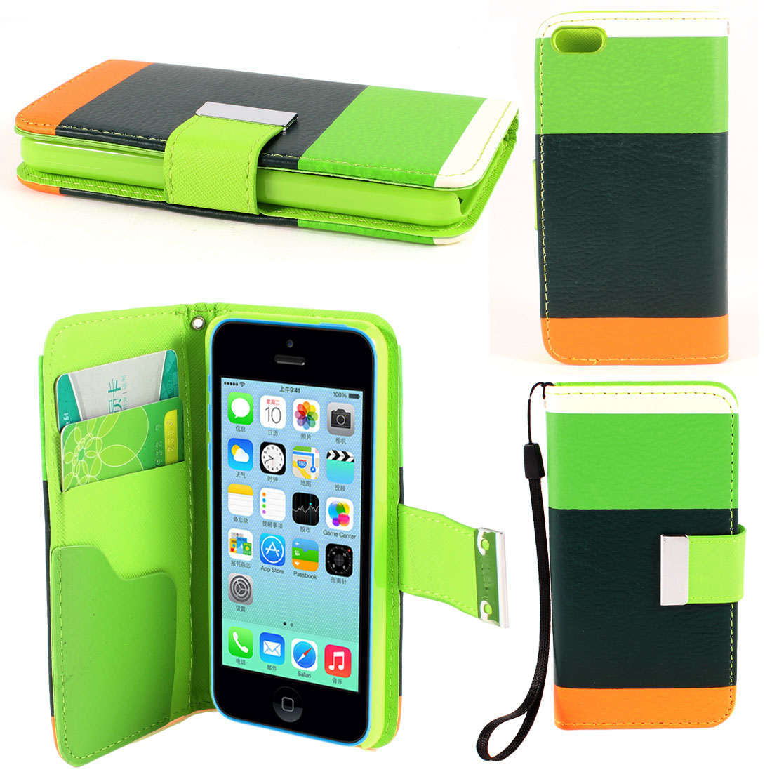 Black Green Stripe Faux Leather Magnetic Flip Stand Pouch Case for iPhone 5C