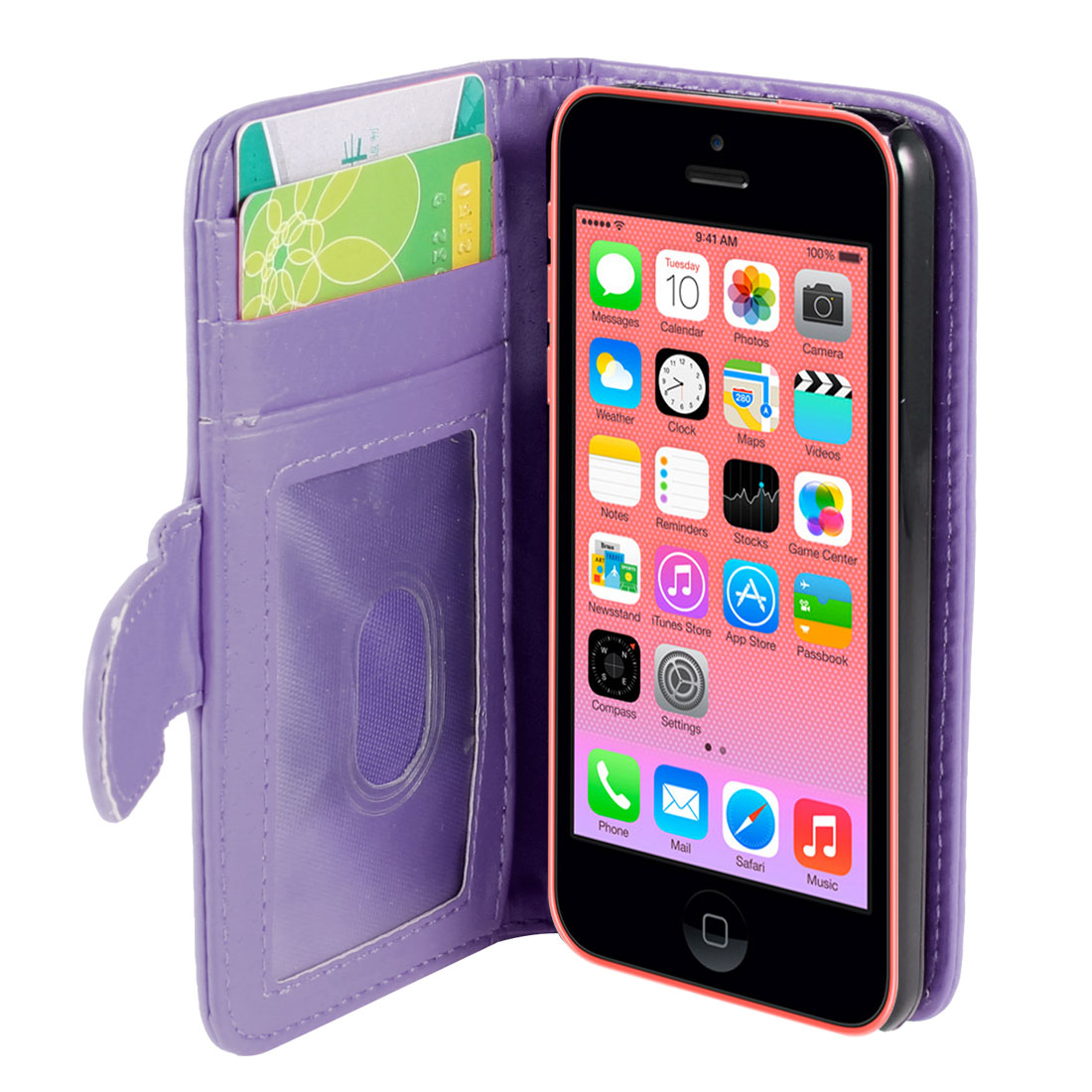 Solid Purple Faux Leather Card Holder Flip Case Cover for Apple iPhone 5C