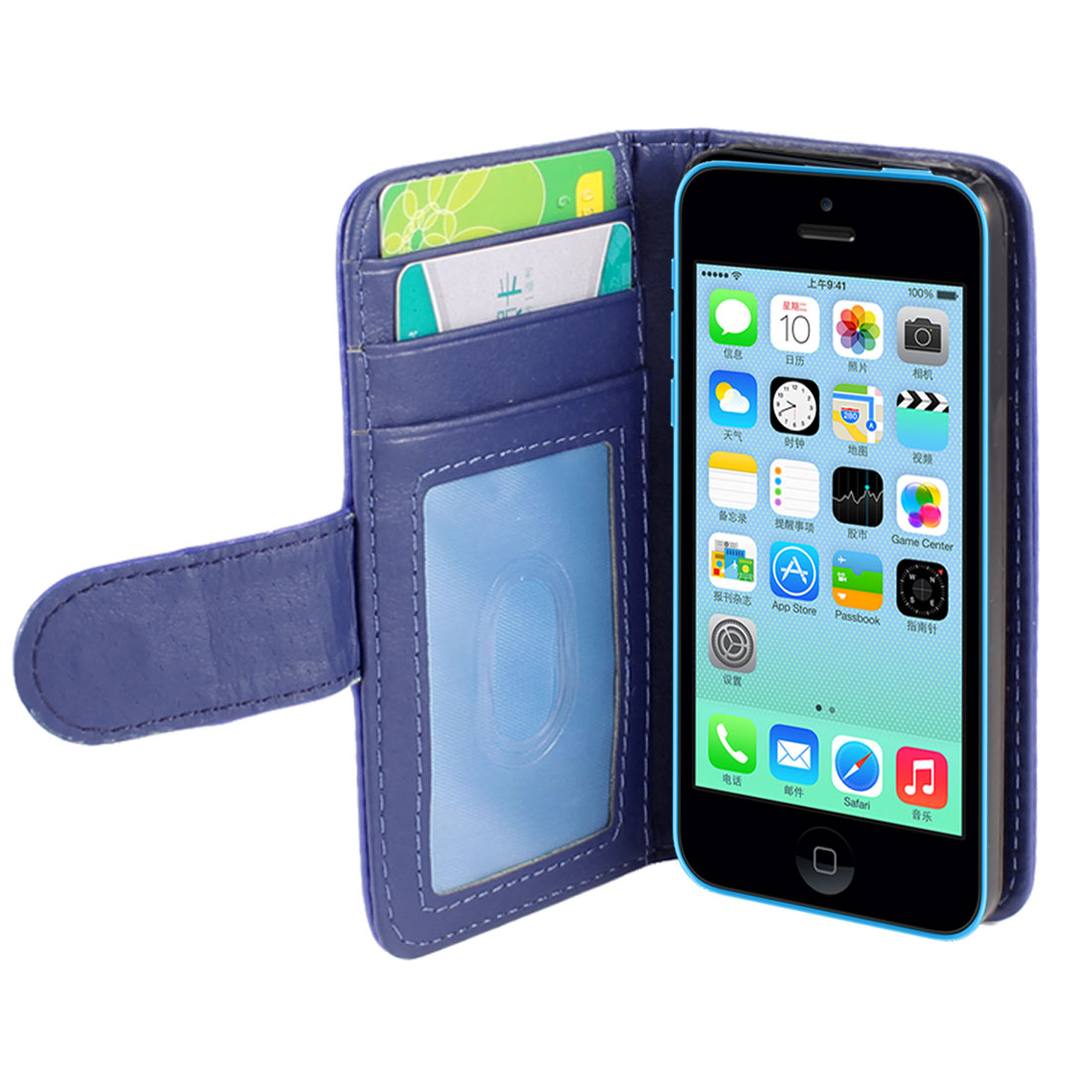 Solid Blue Faux Leather Card Holder Flip Case Cover for iPhone 5C