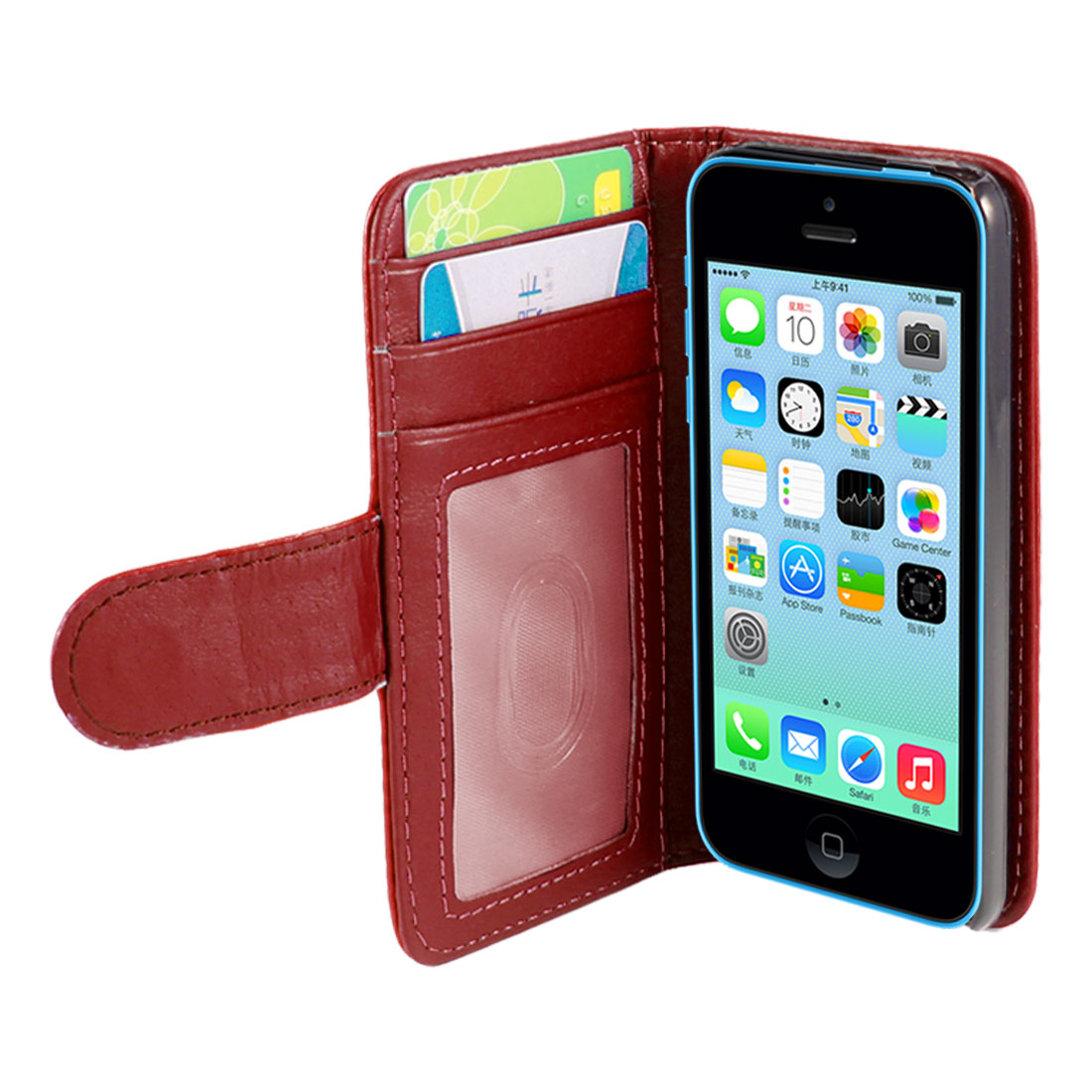 Solid Red Faux Leather Flip Pouch Wallet Case Cover for Apple iPhone 5C