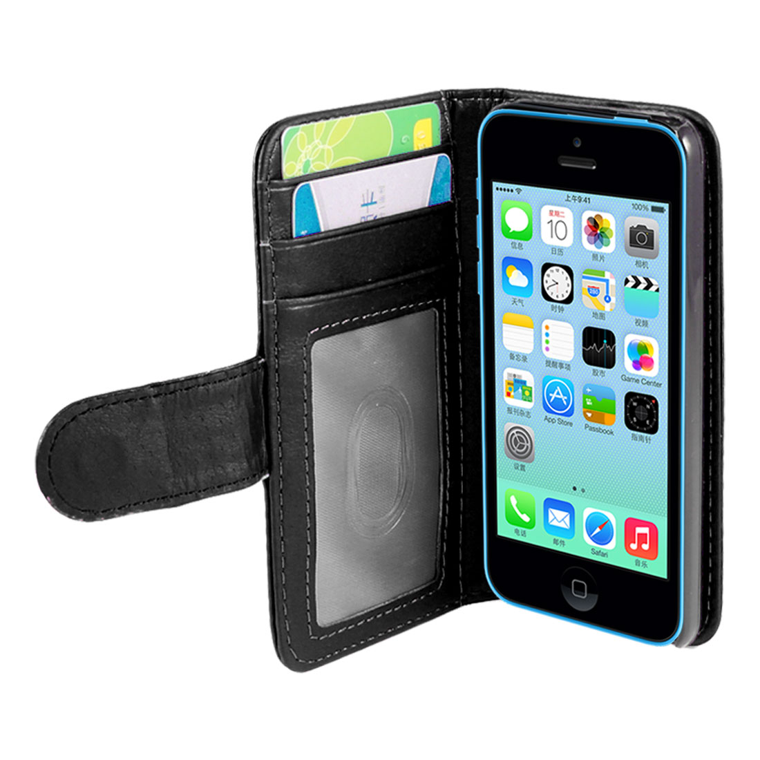 Black Faux Leather Stand Flip Pouch Wallet Case Cover for Apple iPhone 5C