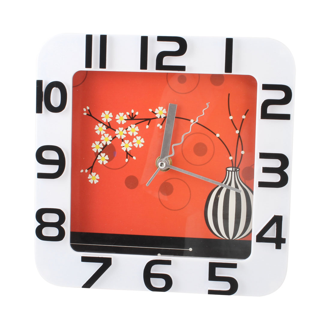 Metal Hands Arabic Numbers Display Wall Mounted Clock Red White