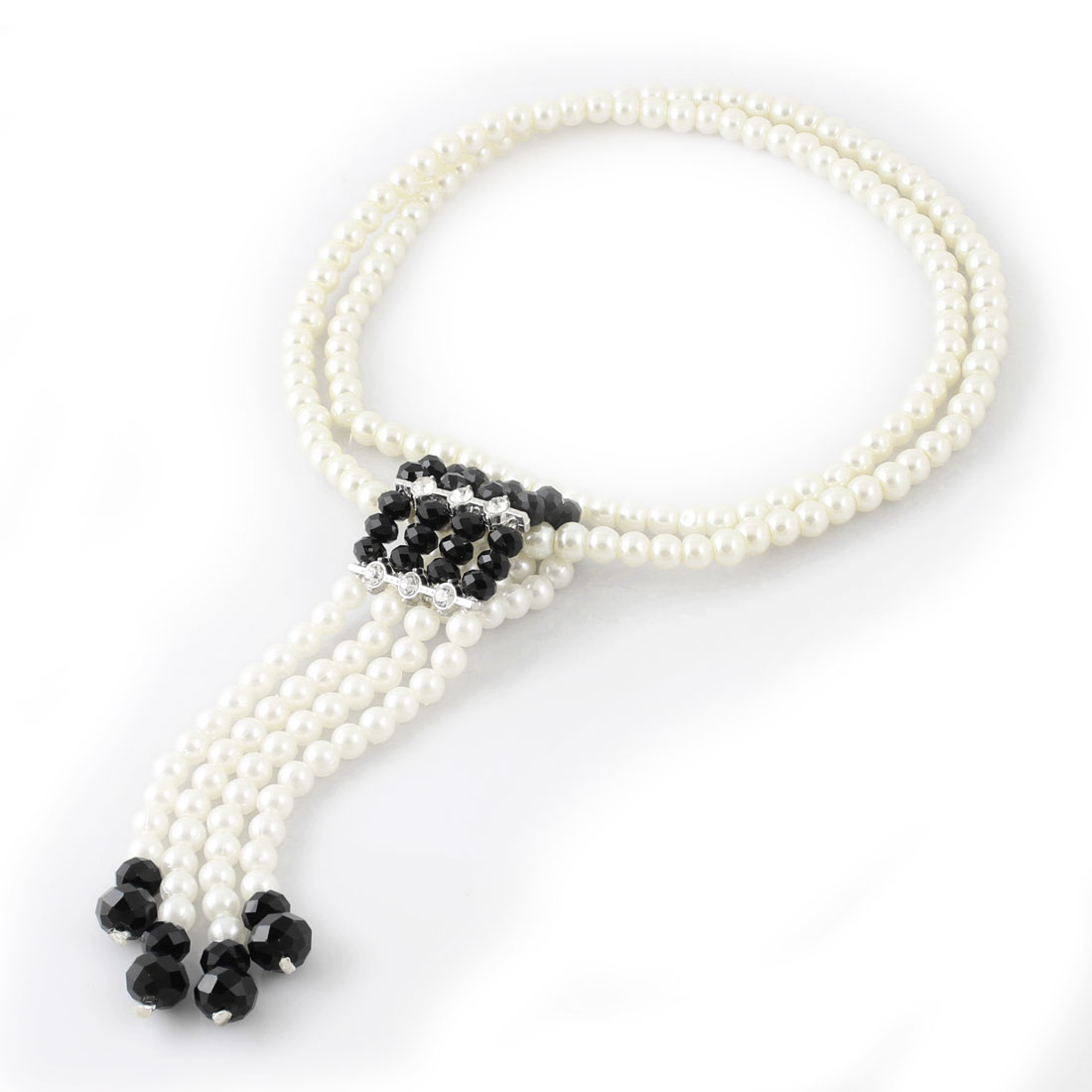 Plastic Crystal Accent Beads Pendant Sweater Necklace Black White for Woman