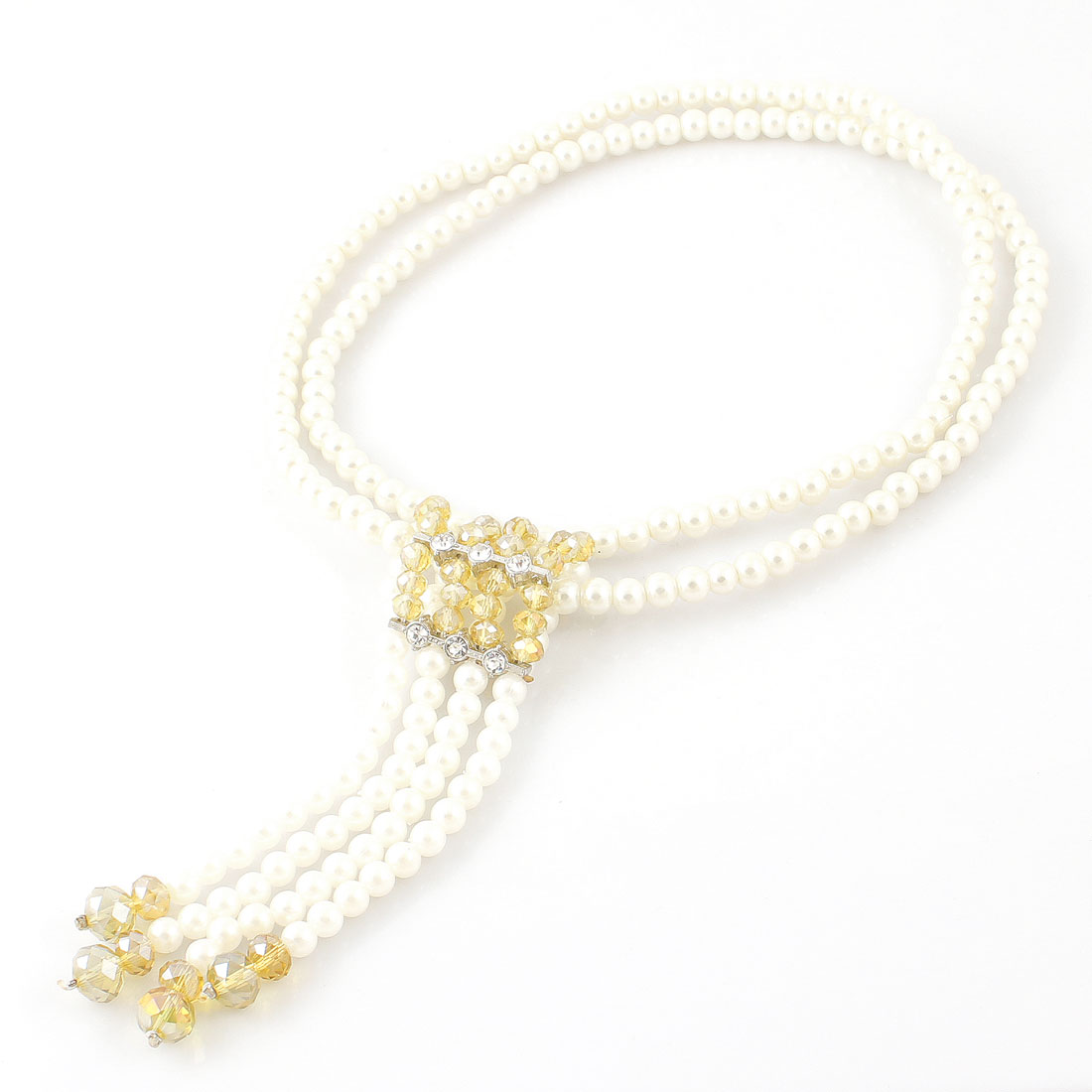 Lady Plastic Crystal Decor Yellow White Beads Dangling Sweater Necklace