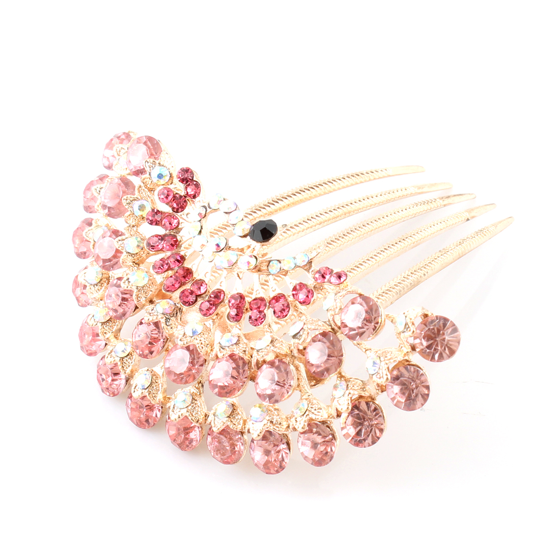 Ladies Woman Pink Bling Bling Rhinestones Peacock Hair Comb Clip