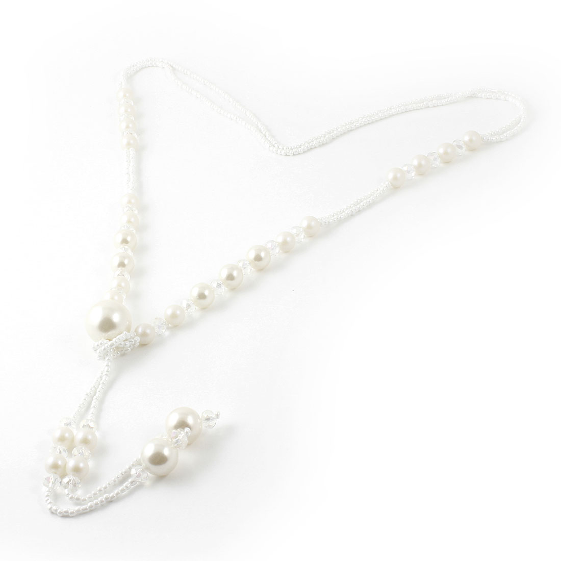 Lady Plastic Crystal Accent Beads Pendant Sweater Necklace Clear White