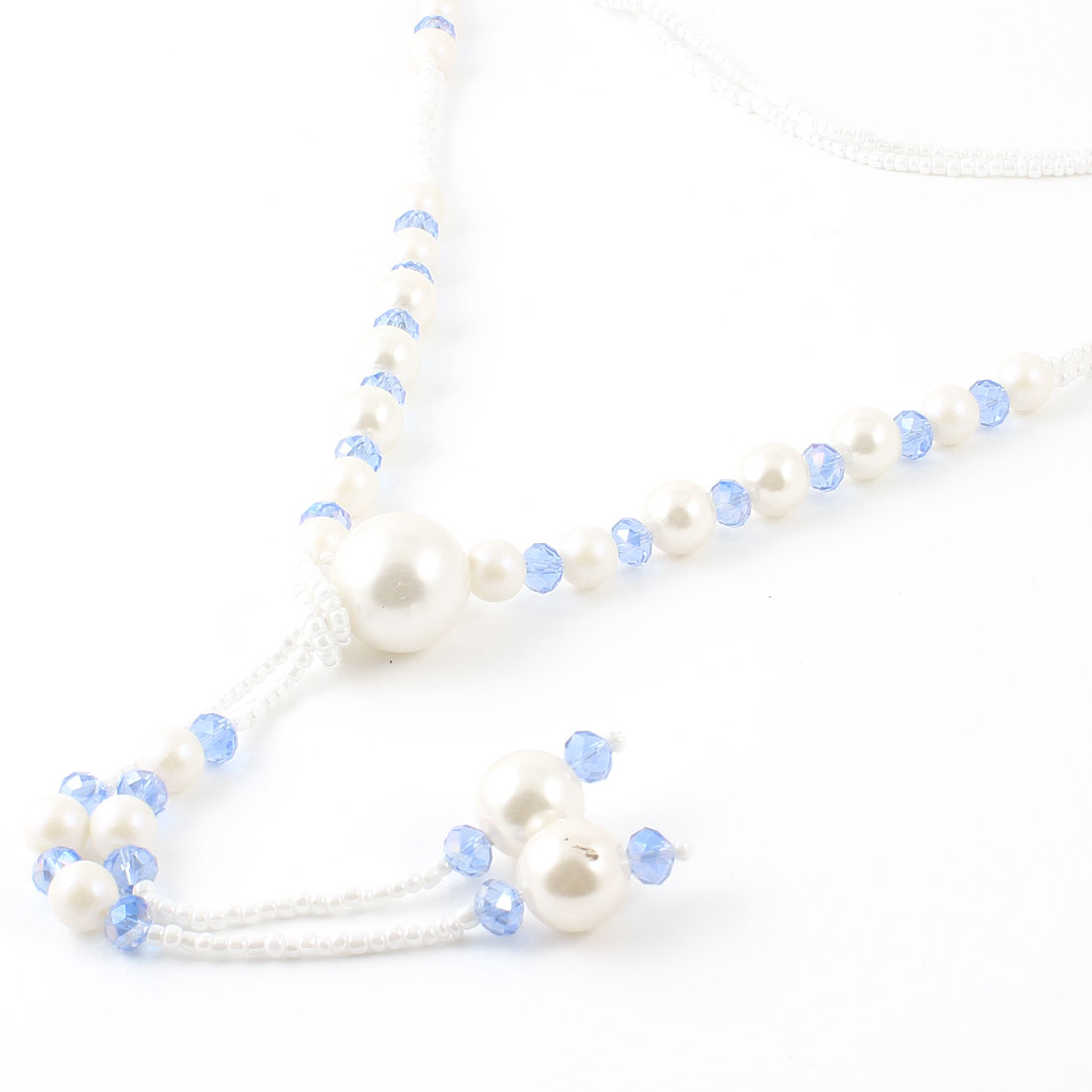 Plastic Crystal Detail Blue White Beads Dangle Sweater Chain Necklace for Woman