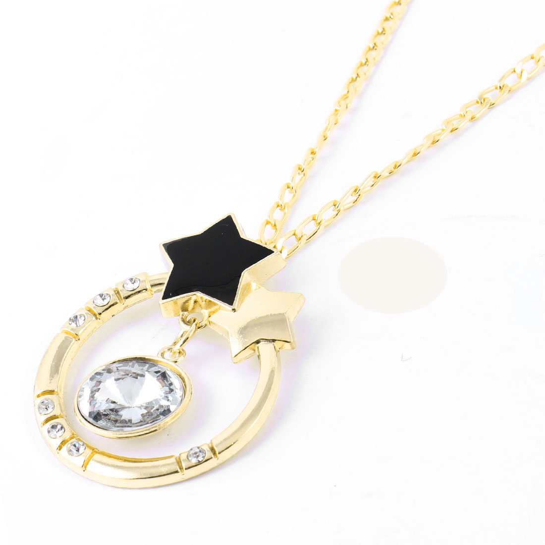 Plastic Crystal Accent Pendant Sweater Necklace Gold Tone for Woman