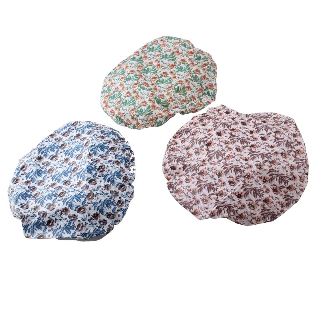 Elastic Hem Assorted Color Flowers Pattern Plastic Shower Cap 3 Pcs