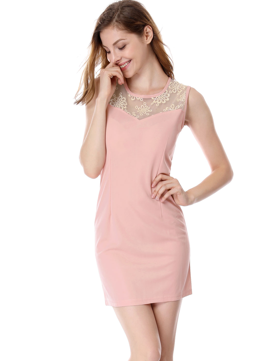 Ladies Pretty Pale Pink Crochet Flower Design Slimming Mini Dress L