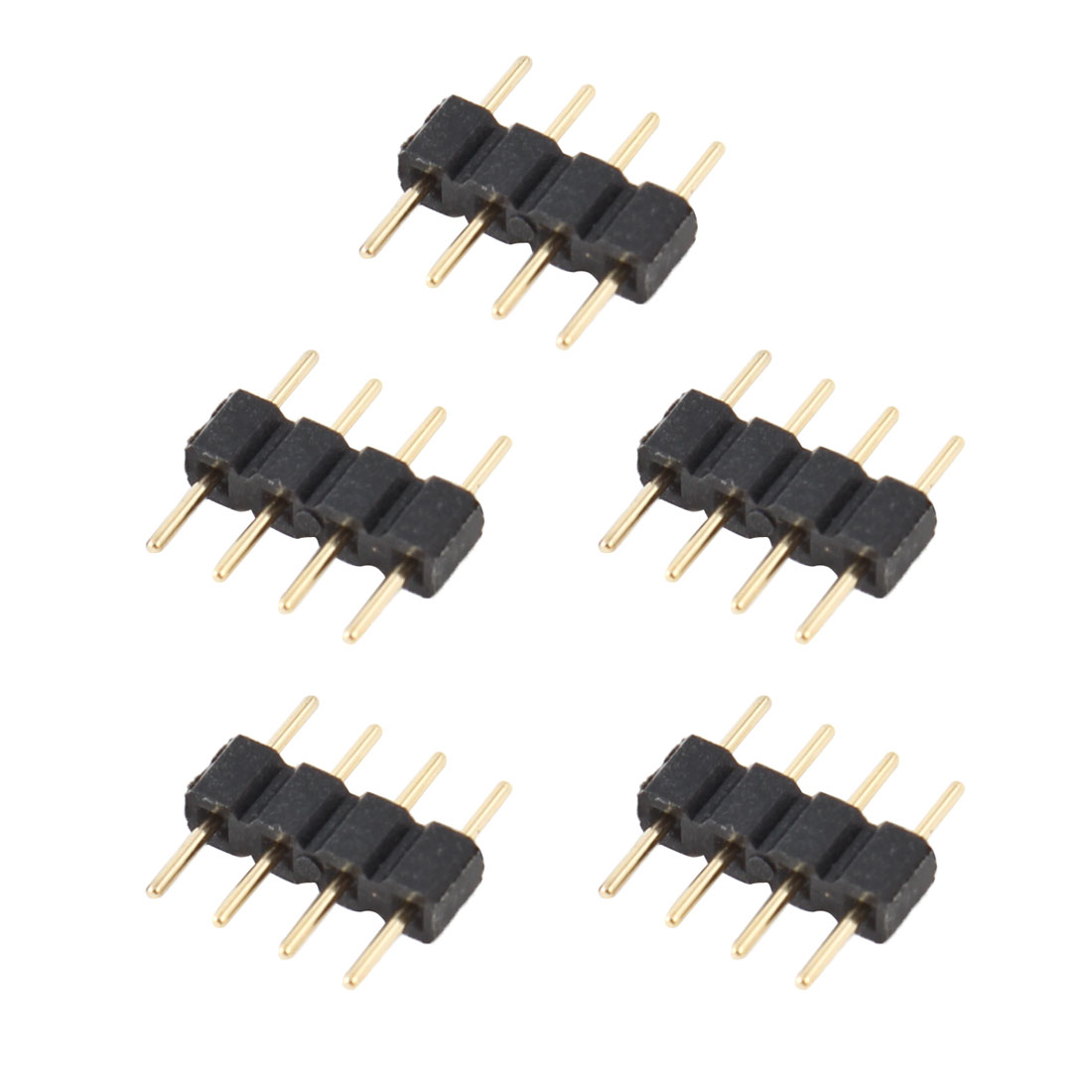 5 Pcs 4 Pin RGB Male to Male Connectors Black for LED Light Strips