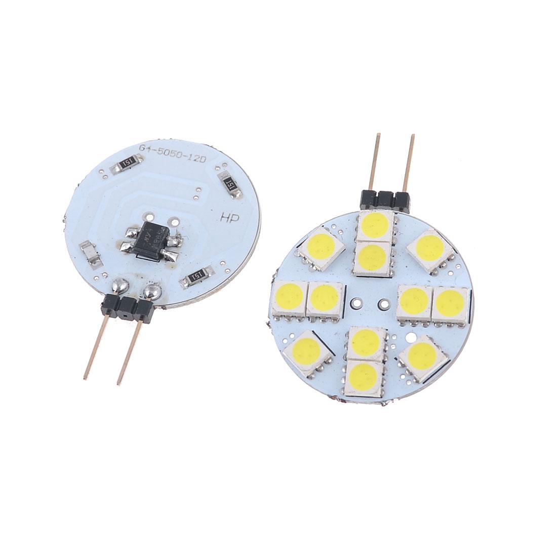 2 Pcs Side Pin G4 Round Base White 5050 SMD 12 LED Dome Bulb Light 12V