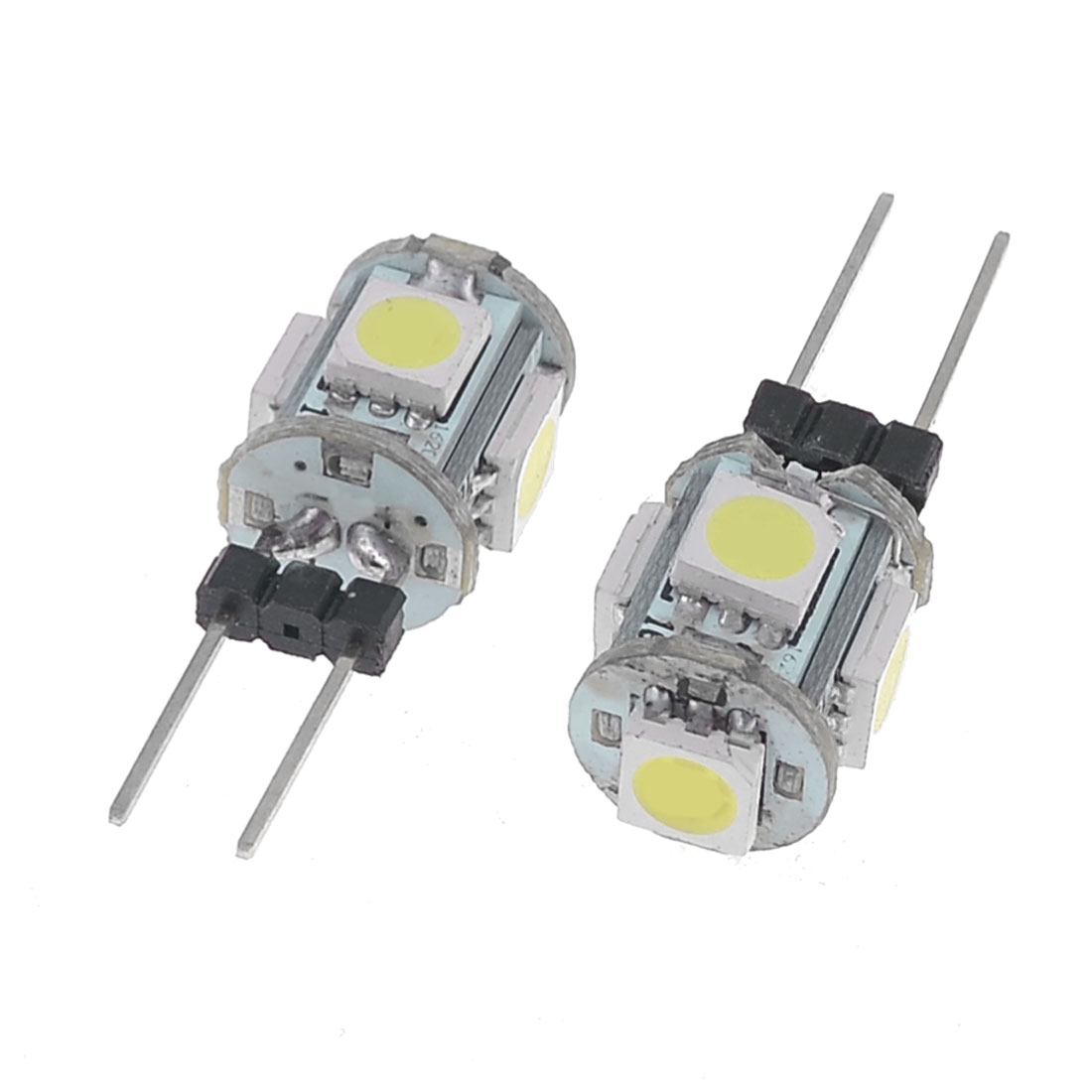 Pair Auto Car Vertical Pin DC 12V G4 5050 5 SMD LED Bulb Light White