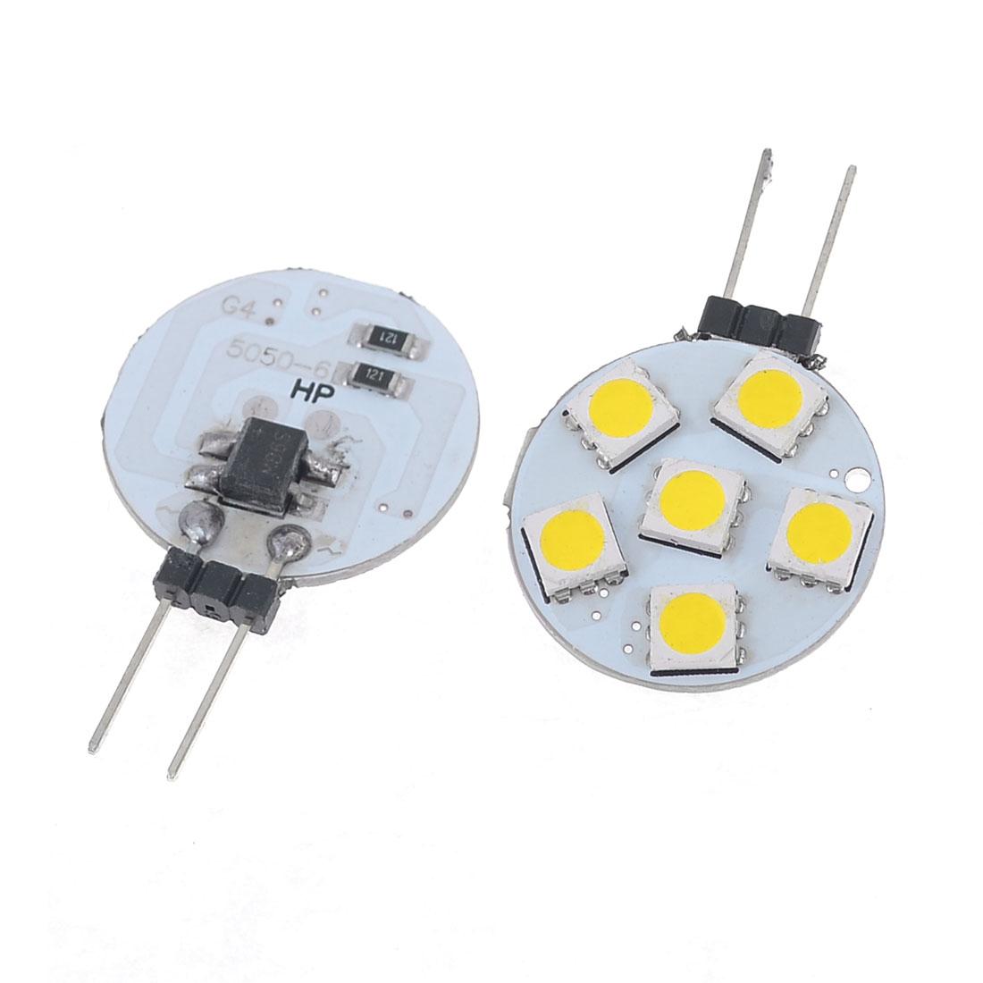Pair Car Bin Pin Round G4 5050 SMD 5-LED Spot Light Bulb Warm White 12V