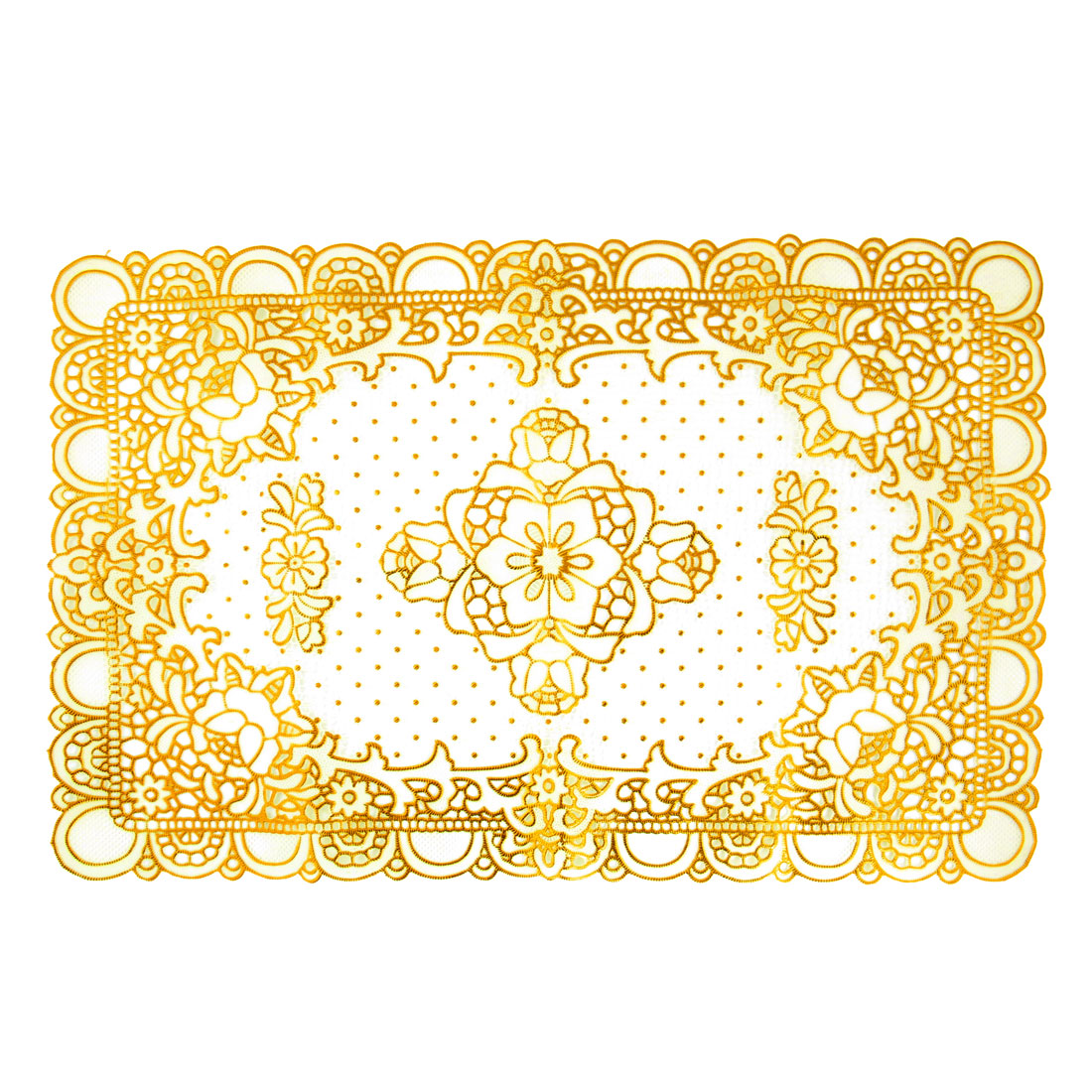 Vinyl Plastic Tablecloths Doilies Table Mat Gold Tone Beige Cup Pad