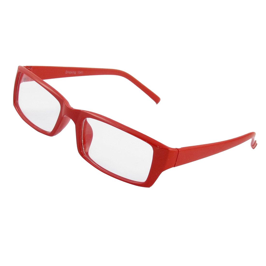 Lady Women Plastic Frame Rectangular Lens Full Rim Spectacle Eyeglass Clear Red
