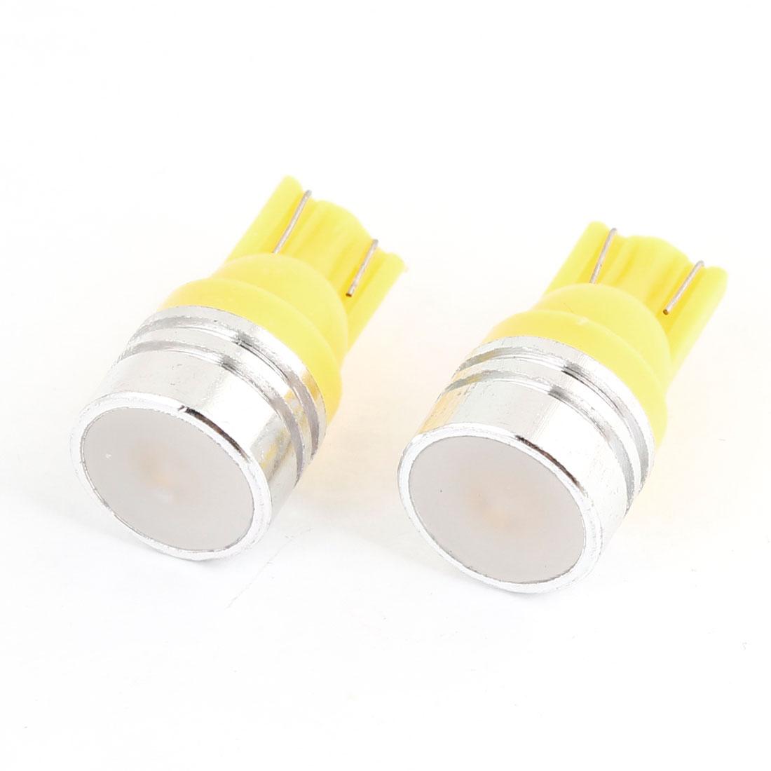2 Pcs Yellow 1W T10 Ceramic LED Light lamp Bulbs for Auto Car