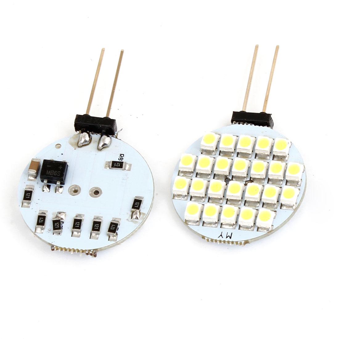 G4 4mm Pin Pitch White 1210 SMD 24-LED Car Light Lamp Bulbs 2 Pcs
