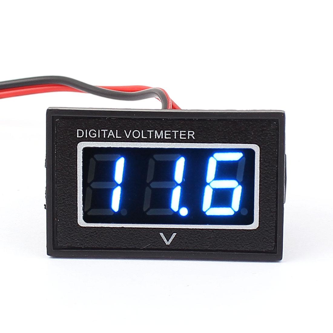 DC3-30V 3 Digits Blue LED Waterproof Digital Voltmeter w 20cm 2-Cables