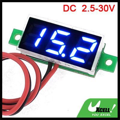Dual Wire Blue LED Display 3-Digital DC Voltmeter Module 3.0-30V
