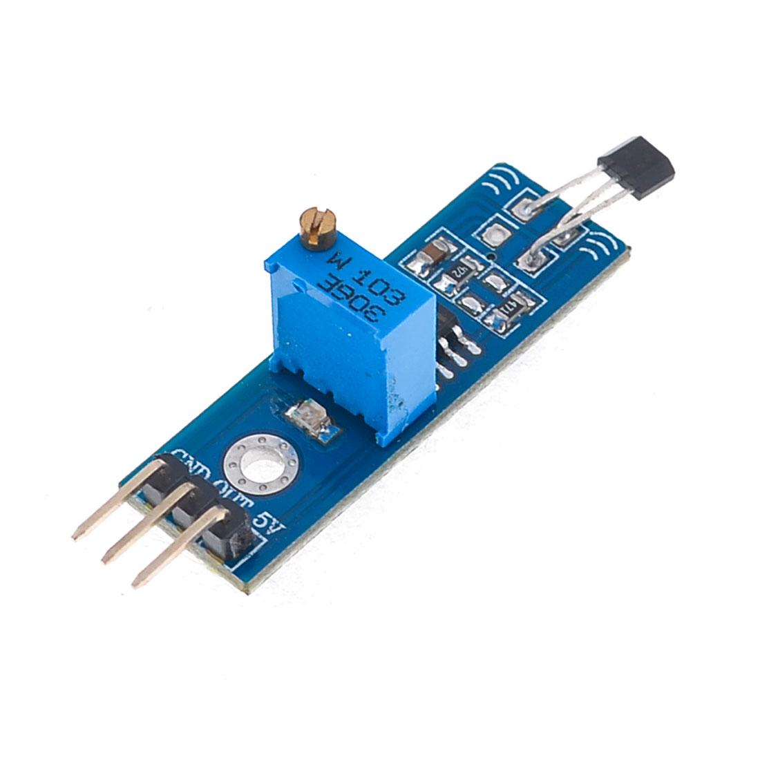 LM393 Chip 3144 3 Terminal Hall Sensor Module DC 5V Blue