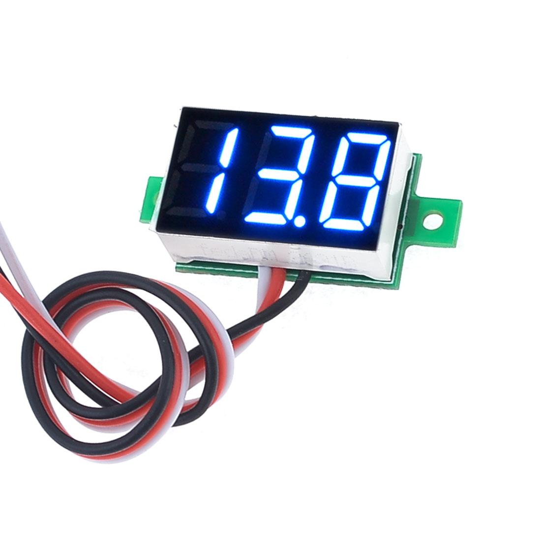 V20D Tri-Wire Blue LED Display 3-Digit DC Digital Voltmeter 0-100V