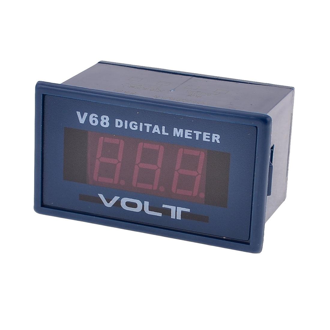 V68A Red LED 3-Digits AC 0-600V Voltage Digital Meter Dark Blue White