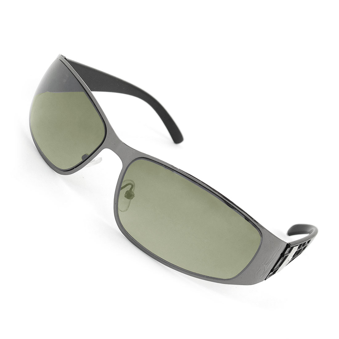 Ladies Metal Full Frame Rectangle Colored Lens Sunglasses Eyeglasses Black
