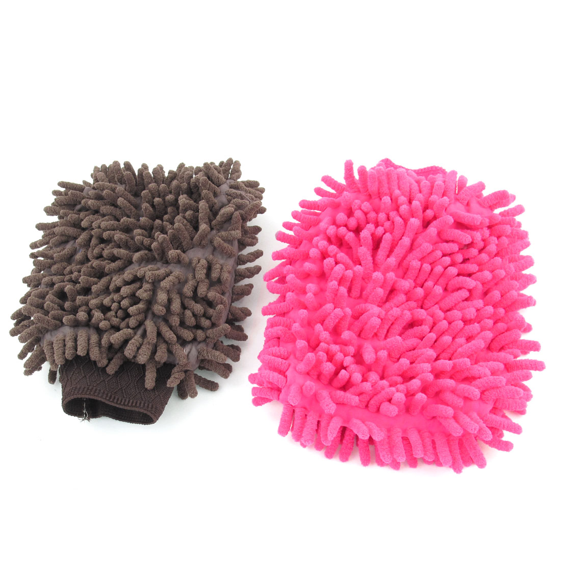 2 Pcs Car Cleaning Double Side Microfiber Mitten Glove Coffee Color Fushcia