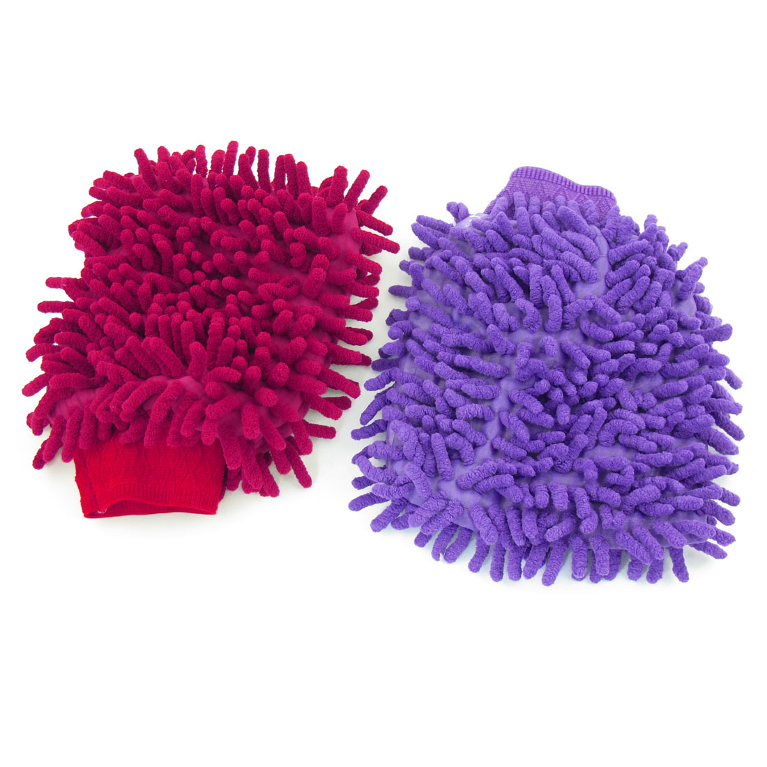 2 Pcs Auto Car Washing Tool Elastic Cuff Microfiber Mitt Gloves Purple Red