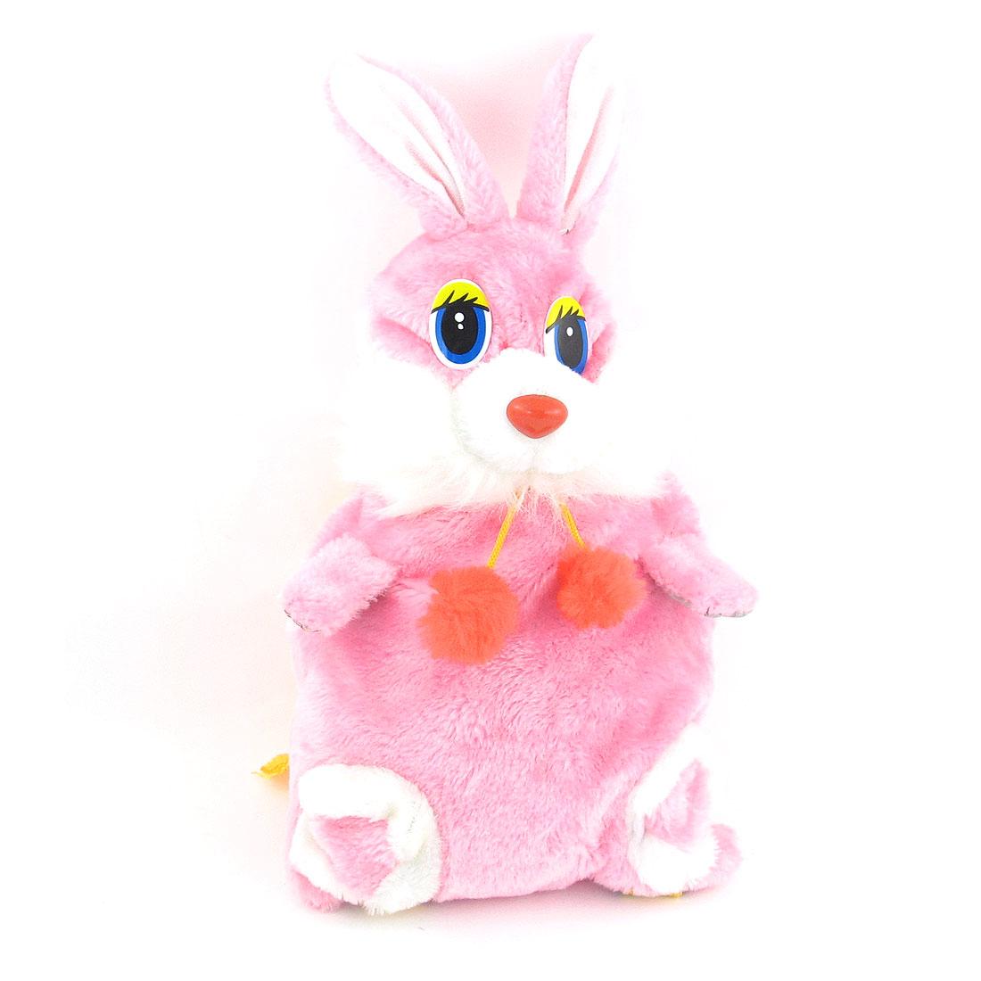 Pink Zipper Closure Cartoon Rabbit Shaped Adjustable Backpack for Kids