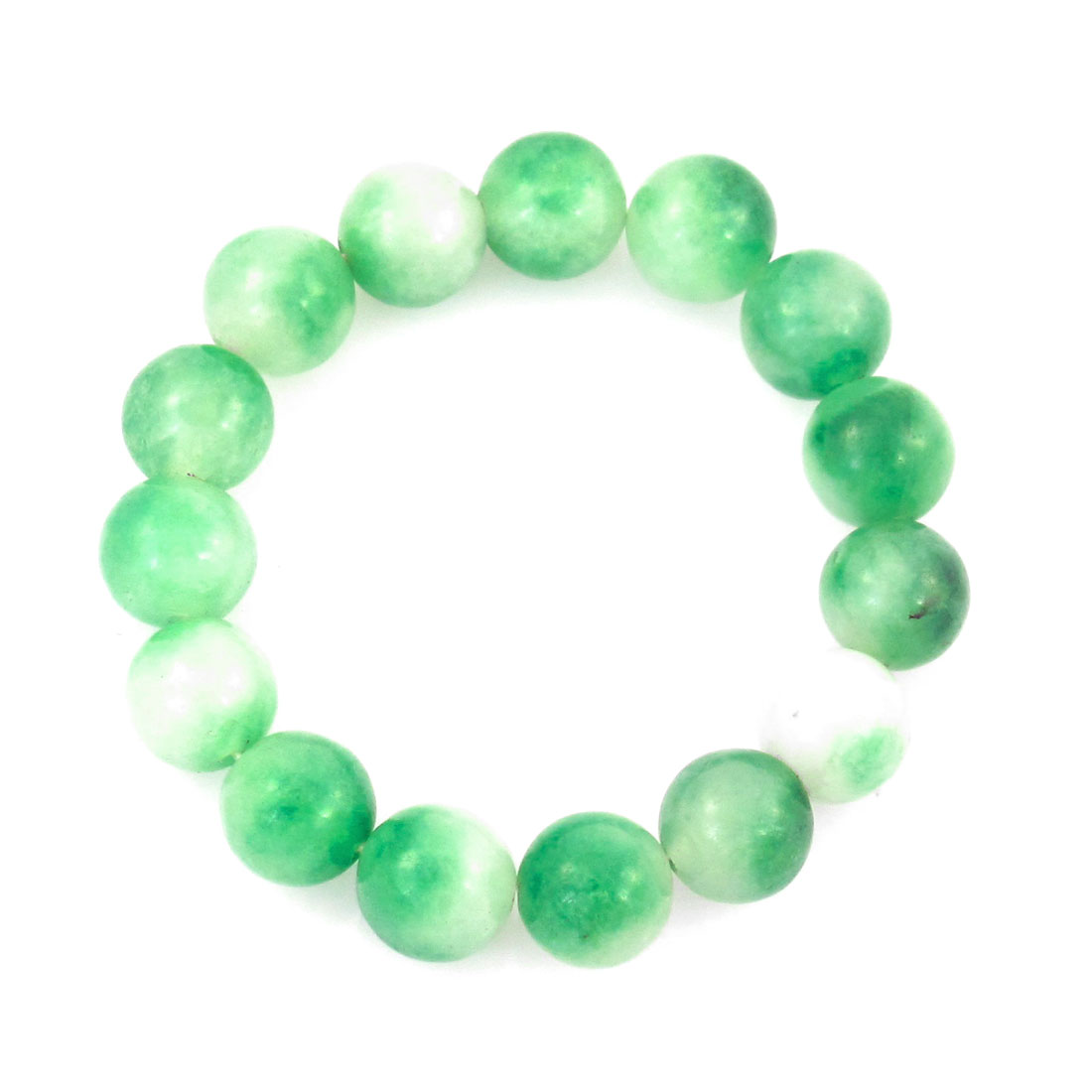 Green Stretch Plastic Beaded Bracelet Bangle Chain Decor for Lady