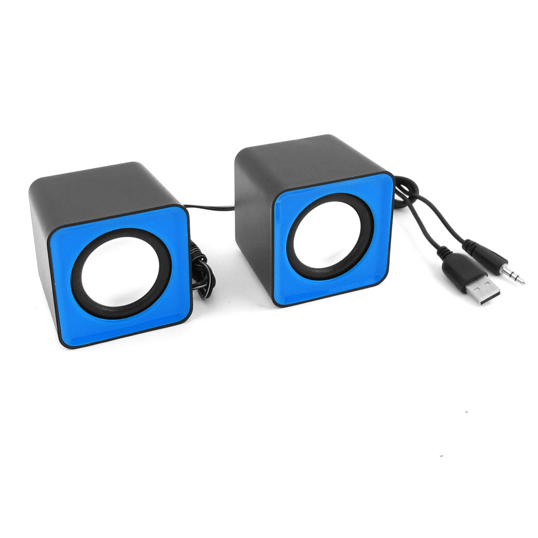 Pair Black Blue USB 2.0 3.5mm Stereo Mini Multimedia Speaker Sound Box