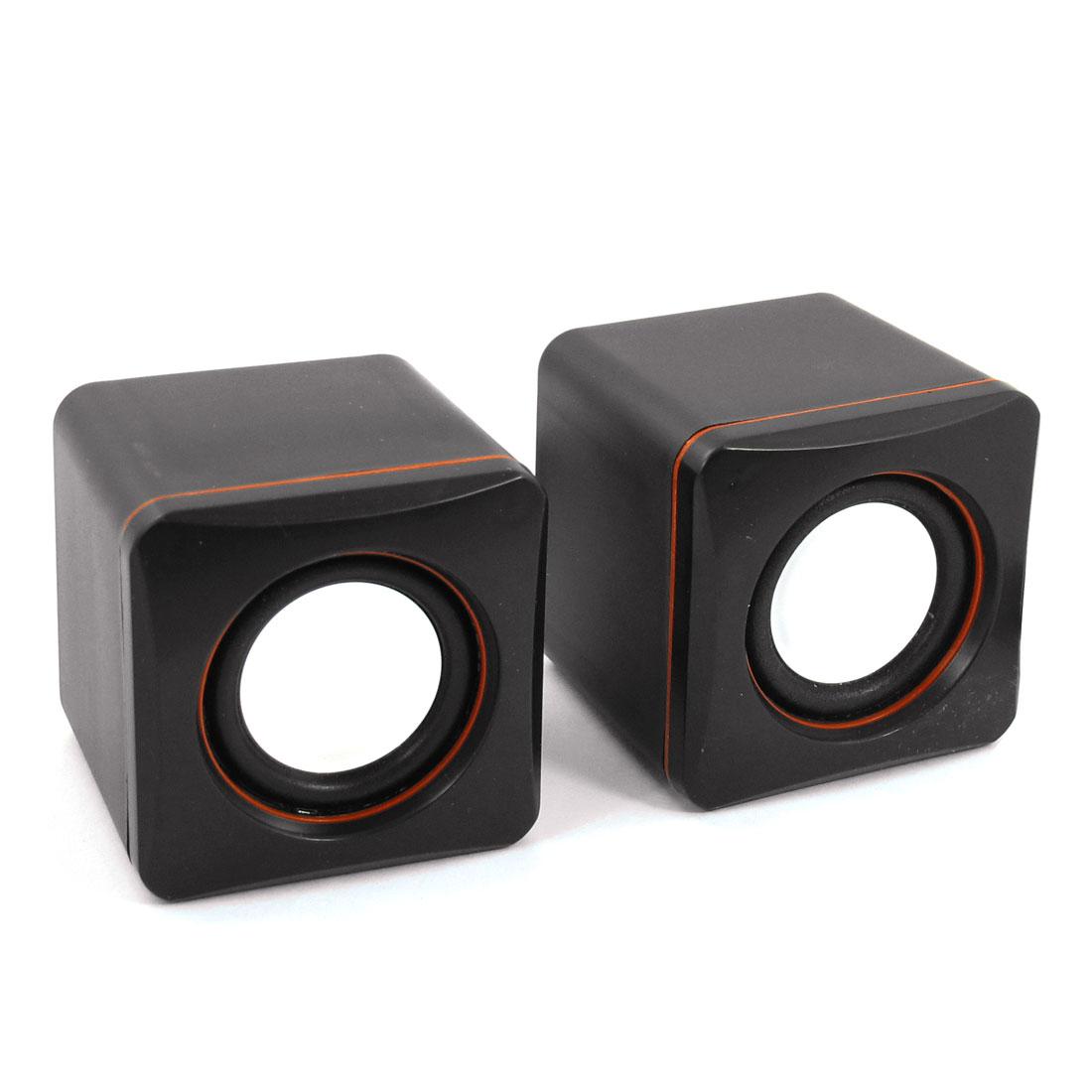 Pair Black Cube USB 2.0 3.5mm Stereo Mini Multimedia Speaker Sound Box