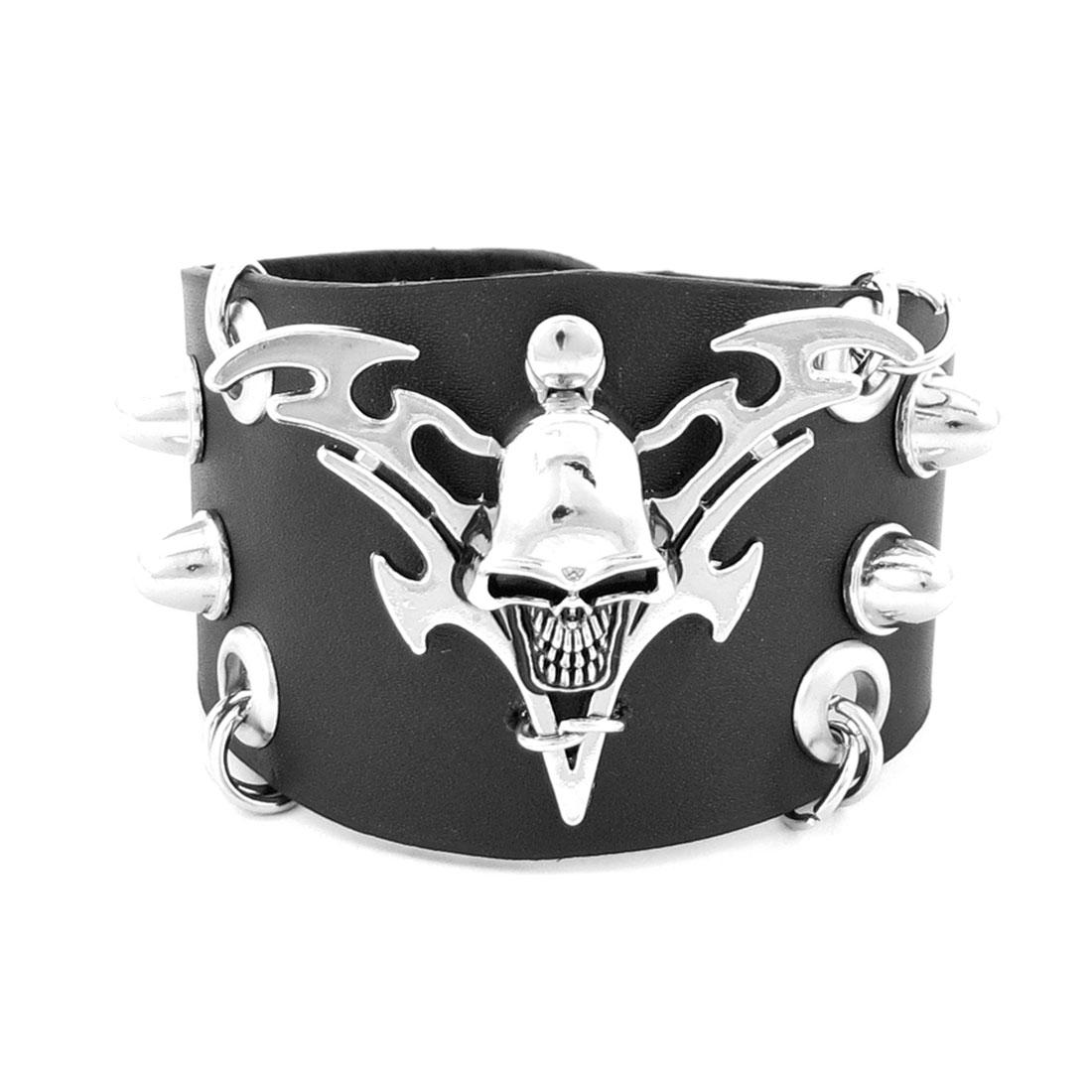 Men Ladies Punk Rivet Skull Accent Faux Leather Bracelet Bangle Black