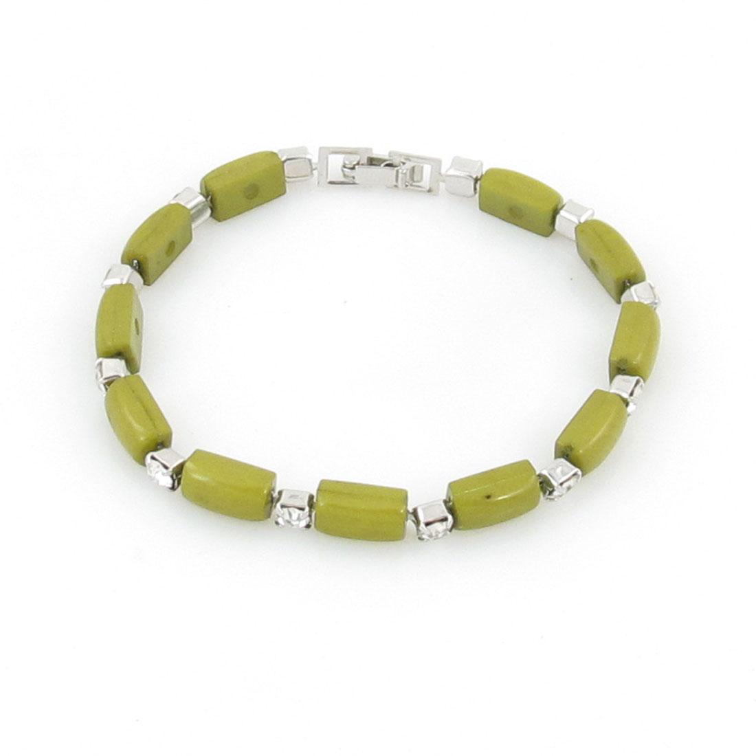 Woman Green Bead Rhinestone Decoration Wrist Bracelet