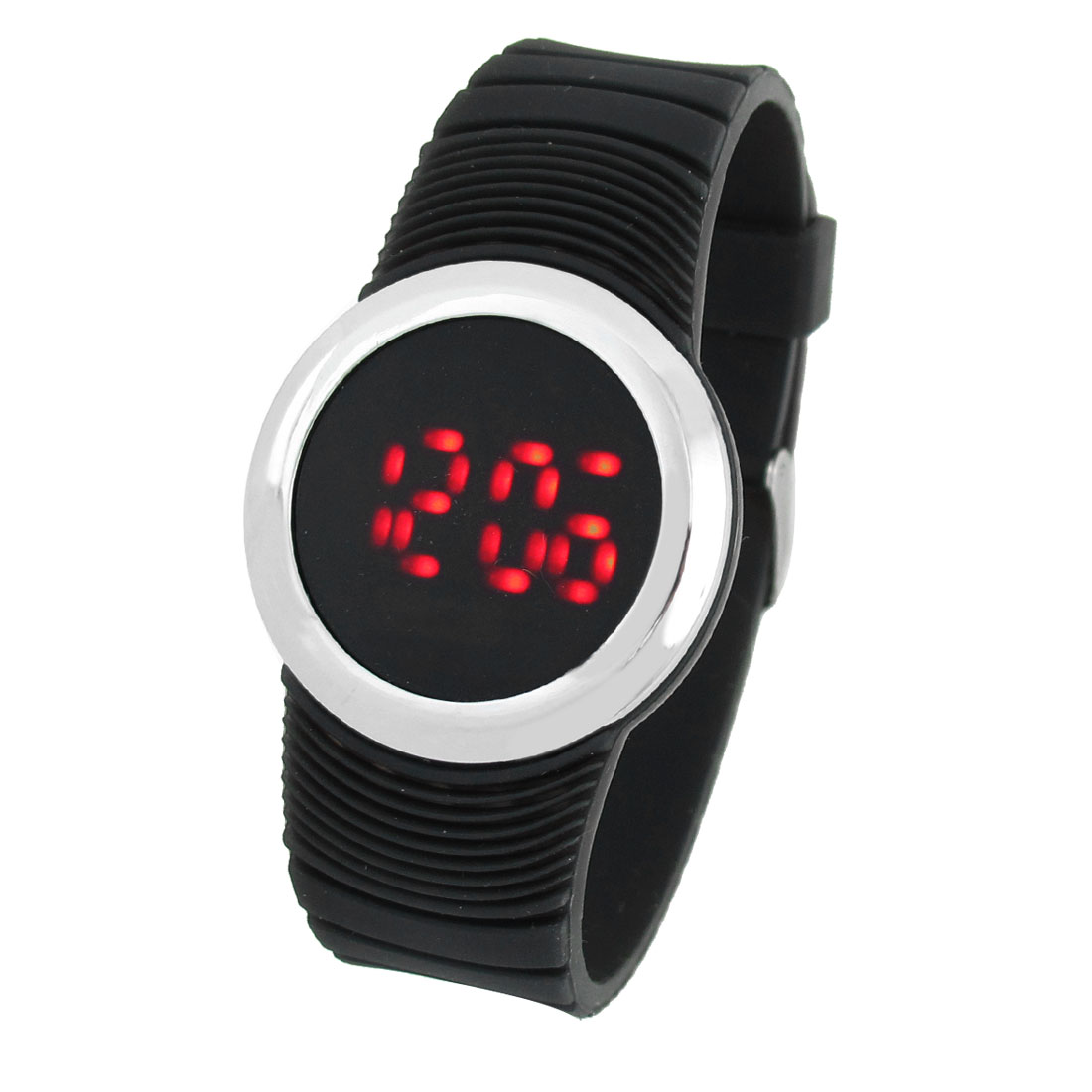 Black Round Dial Digital Display Touch Screen Red LED Watch for Lady