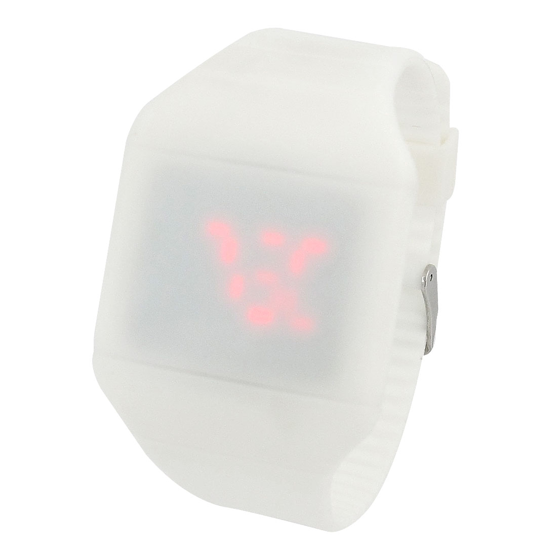 White Digital Display Water Resistant Touch Screen Red LED Watch for Woman