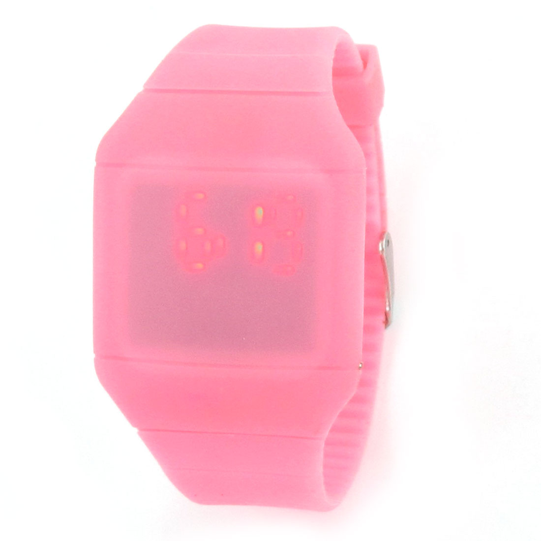 Women Square Dial Hours Minutes Display Touch Screen Red LED Watch Pink